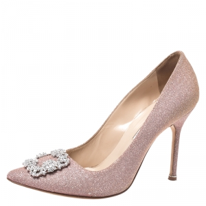 Manolo Blahnik Pink Glitter Fabric Hangisi Crystal Embellished Pumps Size 41