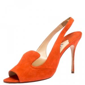 Manolo Blahnik Orange Suede Slingback Sandals Size 40.5 - used