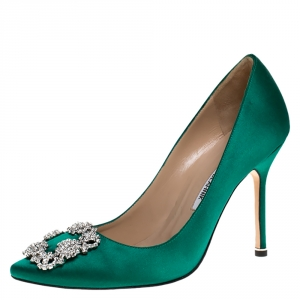 Manolo Blahnik Emerald Green Satin Hangisi Embellished Pointed Toe Pumps Size 38