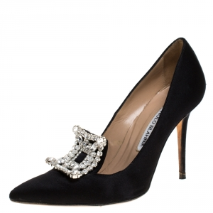 Manolo Blahnik Black Satin Borlak Crystal Embellished Pumps Size 34.5