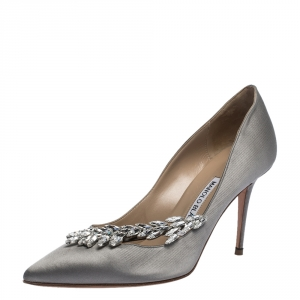 Manolo Blahnik Grey Satin Nadira Crystal Embellished Pointed Toe Pumps Size 36.5