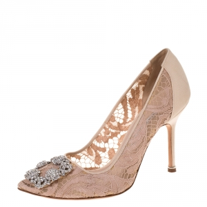 Manolo Blahnik Beige Satin And Lace Hangisi Crystal Embellished Pointed Toe Pumps Size 38