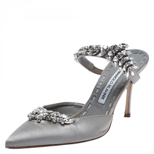 Manolo Blahnik Grey Satin Crystal Embellshed Lurum Sandals Size 38