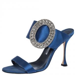 Manolo Blahnik Blue Satin Fibiona Crystal Embellished Mules Size 40