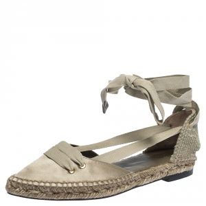 Castaner By Manolo Blahnik Grey Satin And Canvas Espadrille Pointed Toe Ankle Tie Flat Sandals Size 37 - used