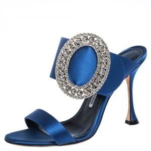 Manolo Blahnik Blue Satin Fibiona Crystal Embellished Mules Size 38