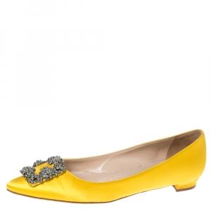 Manolo Blahnik Yellow Satin Hangisi Crystal Embellished Flats Size 38.5