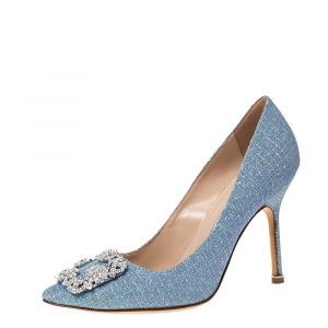 Manolo Blahnik Blue Holographic Glitter Fabric Hangisi Crystal Embellished Pumps Size 37.5