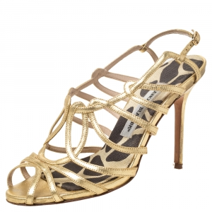 Manolo Blahnik Metallic Gold Leather Strappy Sandals Size 36.5 - used