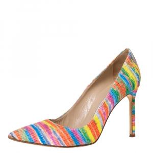 Manolo Blahnik Multicolor Rainbow Fabric BB Pumps Size 39.5