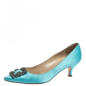 Manolo Blahnik Blue Satin Hangisi Crystal Embellished Pumps Size 39.5