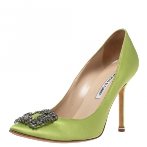 Manolo Blahnik Green Satin Hangisi Crystal Embellished Pumps Size 40