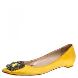 Manolo Blahnik Yellow Satin Hangisi Crystal Embellished Ballet Flats Size 37.5