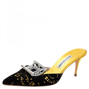 Manolo Blahnik Yellow/Black Satin and Laser Cut Suede Borli Crystal Embellished Mules Size 39.5
