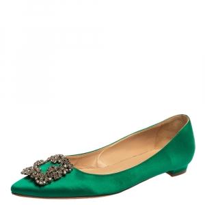 حذاء فلات مانولو بلانيك هانغيسي ساتان أخضر مقاس 39