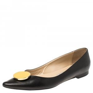 Manolo Blahnik Black Leather Ballet Flats Size 40 - used
