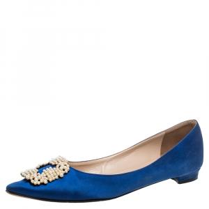 Manolo Blahnik Blue Satin Hangisi Crystal Embellished Ballet Flats Size 39.5