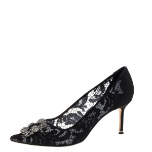 Manolo Blahnik Black Lace And Fabric Hangisi Crystal Embellished Pumps Size 42