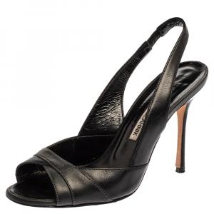 Manolo Blahnik Black Leather Slingback Sandals Size 35.5