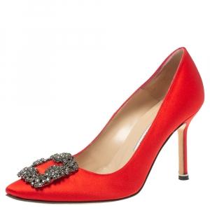Manolo Blahnik Red Satin Hangisi  Pumps Size 36.5