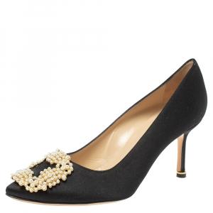 Manolo Blahnik Black Satin Pearl Embellished Hangisi Pumps Size 37