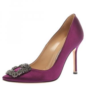 Manolo Blahnik Purple Satin Hangisi  Pumps Size 36.5
