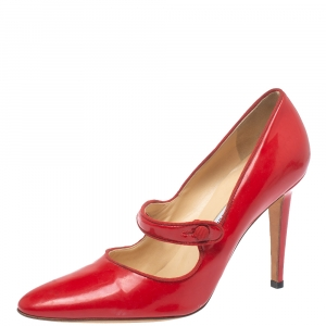 Manolo Blahnik Red Patent Leather Campy Mary Jane Pumps Size 38