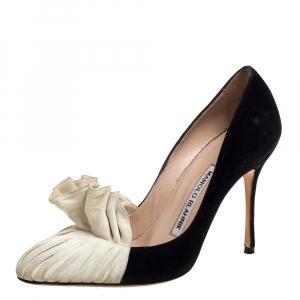 Manolo Blahnik Black/White Suede Ruffled Pumps Size 35.5
