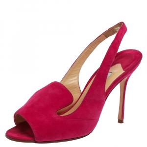 Manolo Blahnik Fuchsia Pink Suede Slingback Sandals Size 35.5
