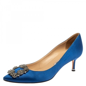 Manolo Blahnik Blue Satin Hangisi Pumps Size 37.5