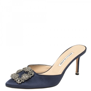 Manolo Blahnik Navy Blue Satin Hangisi Pointed Toe Mules Size 38.5