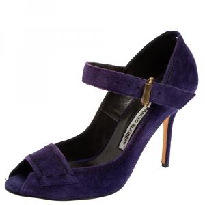 حذاء كعب عالى مانولو بلانيك مقدمة مفتوحة جلد سويدى بنفسجى مقاس 40.5