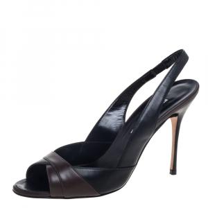 Manolo Blahnik Black /Brown Leather Slingback Sandals Size 40 - used