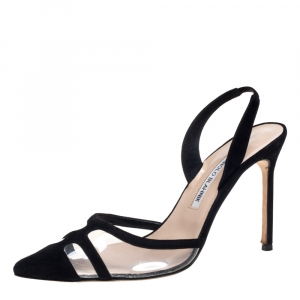 Manolo Blahnik Black PVC And Suede Gotrianc Slingback Sandals Size 39.5 - used