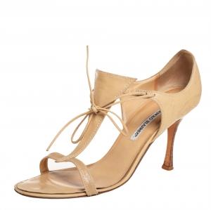 Manolo Blahnik Beige Leather Sandals Size 40.5 - used