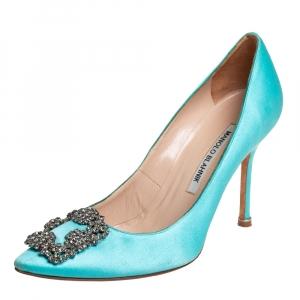Manolo Blahnik Blue Satin Hangisi Crystal Embellished Pumps Size 37.5
