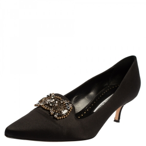 Manolo Blahnik Black Satin Embellished Pumps Size 37