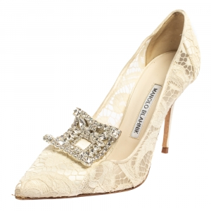 Manolo Blahnik Off White Lace and Satin Borlak Crystal Embellished Pumps Size 37