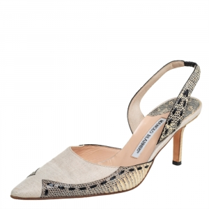 Manolo Blahnik Beige Fabric And Snake Leather Slingback Pumps Size 38