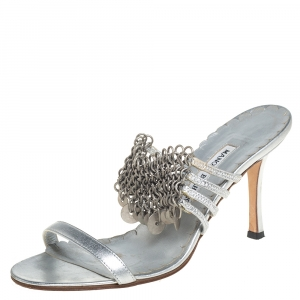 Manolo Blahnik Metallic Silver Leather Strappy Chain Slide Sandals Size 38