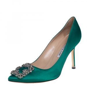 Manolo Blahnik Green Satin Hangisi Pumps Size 38