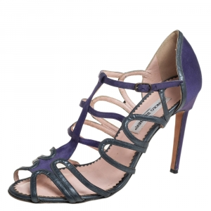 Manolo Blahnik Purple/Grey Leather And Satin Cage Sandals Size 40 - used