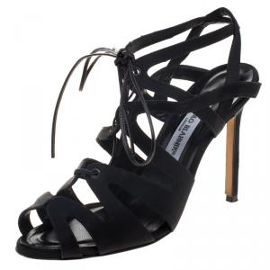 Manolo Blahnik Black Satin Netochka Cage Lace-up Sandals Size 38 - used