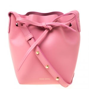 Mansur Gavriel Pink Leather Mini Drawstring Bag