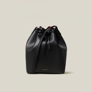 Mansur Gavriel Black Leather Bucket Bag One Size