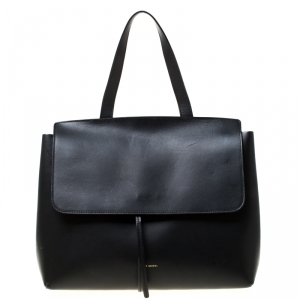 Mansur Gavriel Black Leather Lady Top Handle Bag