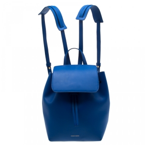 Mansur Gavriel Blue Leather Mini Backpack
