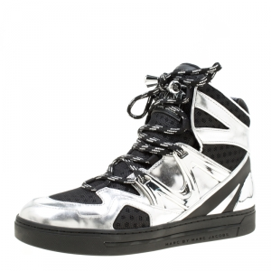 Marc by Marc Jacobs Metallic Silver/Black Leather And Mesh High Top Sneakers Size 38 -