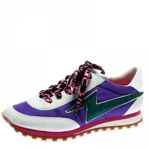 Marc Jacobs Multicolor Fabric And Suede Lightning Bolt Platform Sneakers Size 36