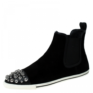 Marc by Marc Jacobs Black Suede Chelsea Studded Ankle Boots Size 38